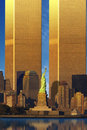 Enlarged World Trade Center behind Statue of Liberty Royalty Free Stock Photo