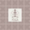 Enlightenment yoga studio design card in pastel colors flat vector on ornamental background Royalty Free Stock Images