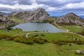 Enol lake from la picota the of in asturias spain Royalty Free Stock Photos