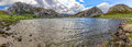 Enol lake panoramic of the from water level in asturias spain Stock Image