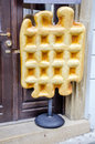Enormous artificial waffle set for advertising place Royalty Free Stock Photo