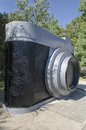 Enormous camera in a park view of Stock Photography