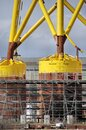 Enormous offshore wind turbine bases construction on Tyneside Royalty Free Stock Photo