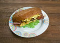 Enormous omelet sandwich breakfast americansandwich fast food restaurant Royalty Free Stock Photos