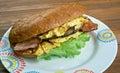 Enormous omelet sandwich breakfast americansandwich fast food restaurant Royalty Free Stock Image