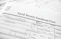 Enrollment form closeup of a social security Royalty Free Stock Images
