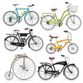 Ensemble d ic nes de symbole de bicyclette Image stock