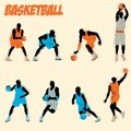 Ensemble de collection d action de silhouette de basket ball Photographie stock libre de droits