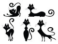 Ensemble de silhouettes de chat Photographie stock