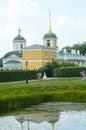 Ensemble Kuskovo Estate. Church and Belfry. Pond. reflection Royalty Free Stock Photo