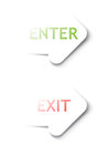 Enter exit arrows over white background vector illustration Stock Image