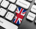 Enter key button with Flag of Great Britan. Royalty Free Stock Photo