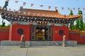 Enter to Chinese Buddhist temple in Lumbini, Nepal - birthplace of Buddha. Royalty Free Stock Photo