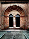 Enter to the medieval church. Stock Photography