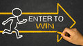 Enter to win concept running person and arrow Royalty Free Stock Image