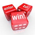 Enter to win red dice contest winning entry the words on three illustrate playing in a raffle drawing or other and gambling a Royalty Free Stock Photo