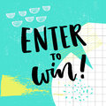 Enter to win text for giveaway. Social media contest vector banner with colorful abstract background. Royalty Free Stock Photo