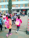 Entering school chinese pupils queuing up feng hu li primary tianjin china Royalty Free Stock Images