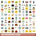 100 enterprise icons set, flat style