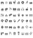 Entertaiment icons collection black on white illustration featuring of grey entertainment or symbols with reflection isolated Royalty Free Stock Photography