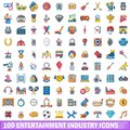 100 entertaiment industry icons set, cartoon style Royalty Free Stock Photo