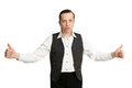 Entertainer greeting the with open arms Royalty Free Stock Photography