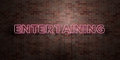 ENTERTAINING - fluorescent Neon tube Sign on brickwork - Front view - 3D rendered royalty free stock picture
