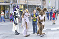 Entertaining group at marienplatz on a sunny afternoon munich germany in costumes Stock Photography