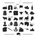 Entertainment, animal, textile and other web icon in black style.dinosaur, antiquity, sport, icons in set collection.