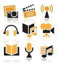 Entertainment icon set over white background Royalty Free Stock Photography