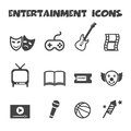 Entertainment icons mono vector symbols Royalty Free Stock Photo