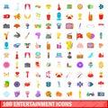 100 entertainment icons set, cartoon style
