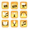 Entertainment icons set over white background Royalty Free Stock Photos
