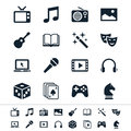 Entertainment icons simple clear and sharp easy to resize no transparency effect eps file Royalty Free Stock Photo