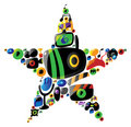 Entertainment icons in star shape Royalty Free Stock Photo