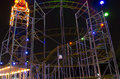 Entertainment park attraction at night a roller coaster structure in amusement Royalty Free Stock Photos