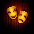 Entertainment theatre illustration of mask on stage curtain backdrop Stock Photography