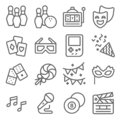 Entertainment Vector Line Icon Set. Contains such Icons as Confetti, Slot Machine, Bowling, Party Mask, Slate Movie and more. Expa