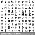 100 enthusiasm icons set, simple style