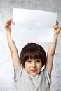 Enthusiastic boy  with  placard Royalty Free Stock Photo
