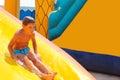 Enthusiastic kid on slide