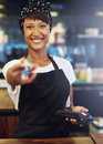 Enthusiastic pretty small business owner Royalty Free Stock Photo