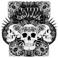 Entity skull vector illustration ideal for printing on apparel clothes Stock Photo