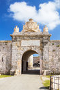 Entrabce gate of la mola fortress isabel ii at menorca island spain it was built between and at the mouth mahon port Royalty Free Stock Photos