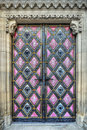 Entrance door art church onamental to the old Royalty Free Stock Photography