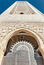 Entrance gate Hassan II Mosque minaret Casablanca Royalty Free Stock Photography