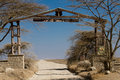 Entrance gate of the Serengeti National Park Stock Photo