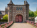 Entrance gate to castle de haar the netherlands gates a medieval fortress with towers ramparts canals and drawbridges Stock Images