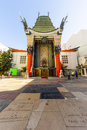 Entrance of grauman s chinese theatre in hollywood los angeles june on june ca there are nearly celebrity handprints footprints Royalty Free Stock Photos