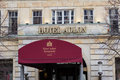 Entrance and logo of the famous Hotel Adlon in Berlin, Germany.
